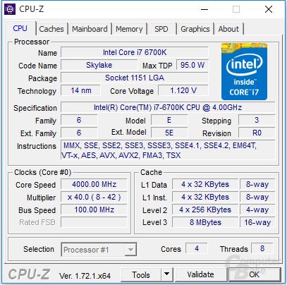 Intel Core i7-6700K undervoltet
