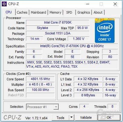 Intel Core i7-6700K mit 4,8 GHz für einen Kern