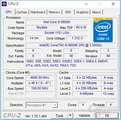 Intel Core i5-6600K bei 4,6 GHz