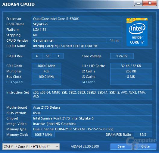 Intel Core i7-6700K mit Last auf allen Kernen