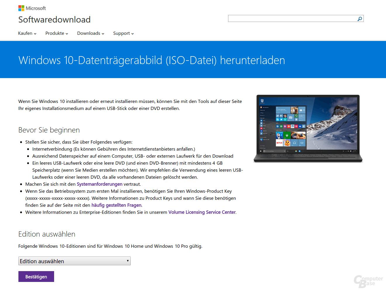 Windows 10 Download-Website (ISO-Datei)