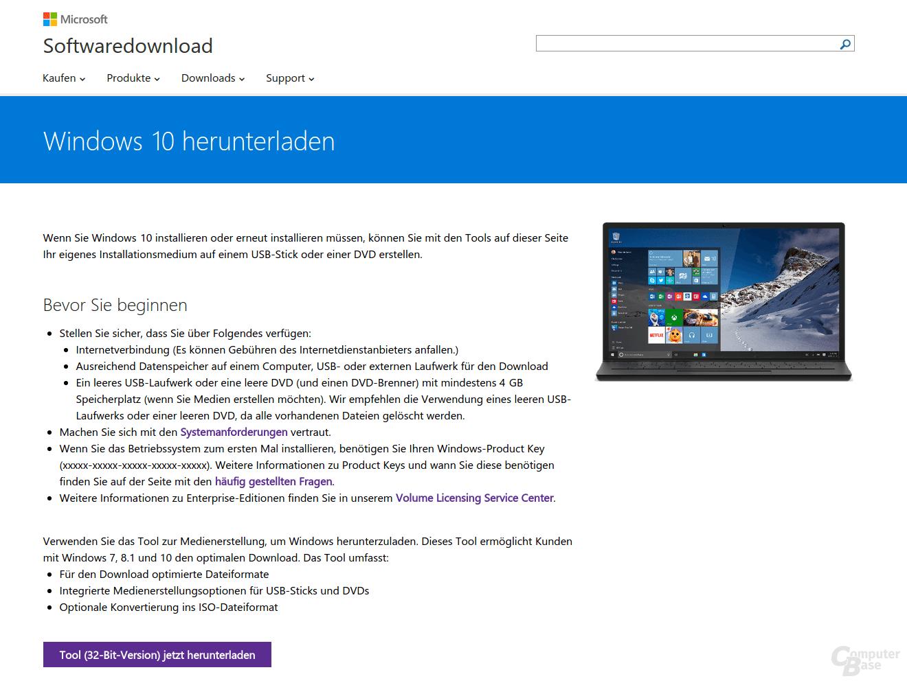 Windows 10 Download-Website