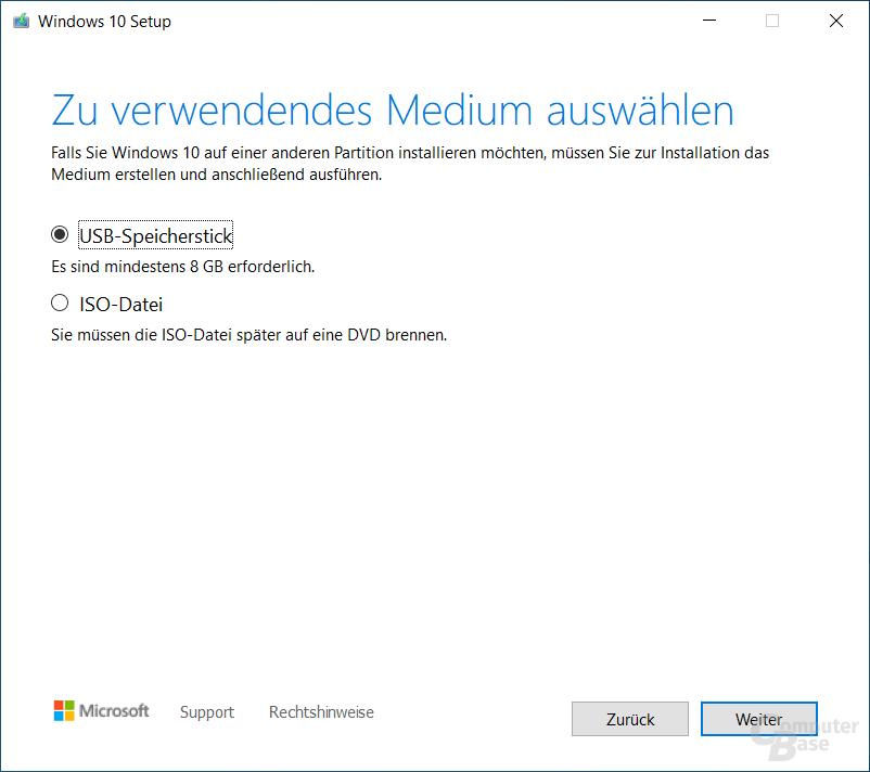 Media Creation Tool für Windows 10