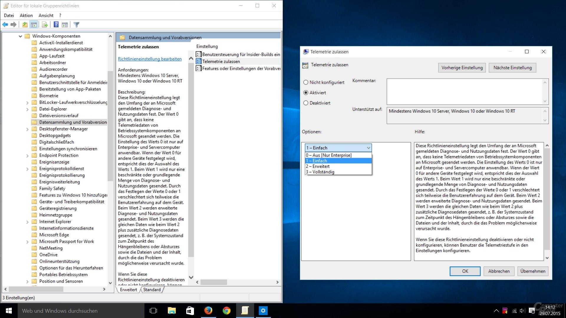 Windows 10: Telemetrie zulassen