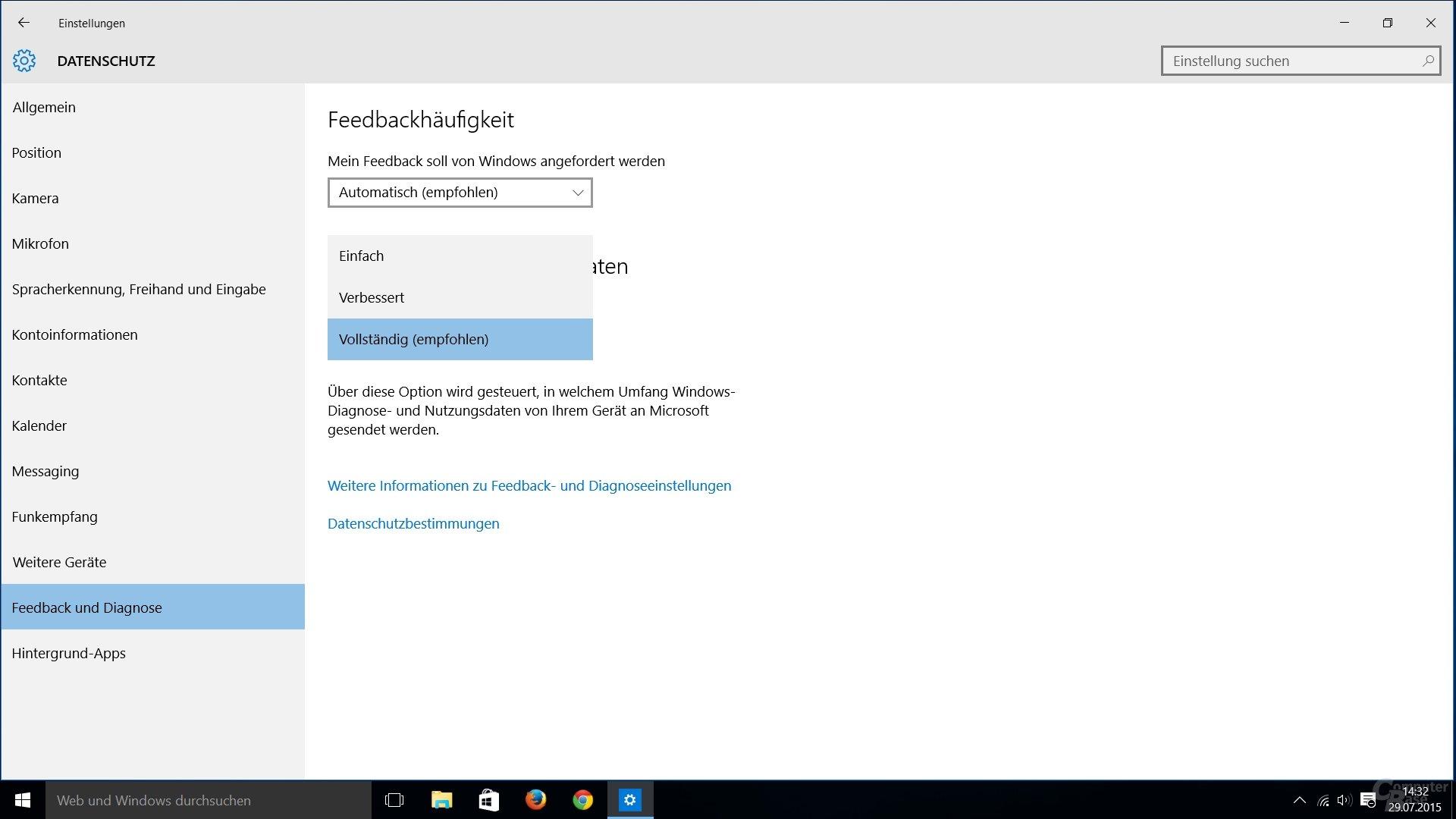 Windows 10: Optionen für Feedback- und Diagnoseeinstellungen