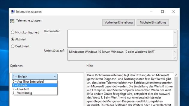 Windows 10: Details zu den übermittelten Diagnose- und Nutzungsdaten