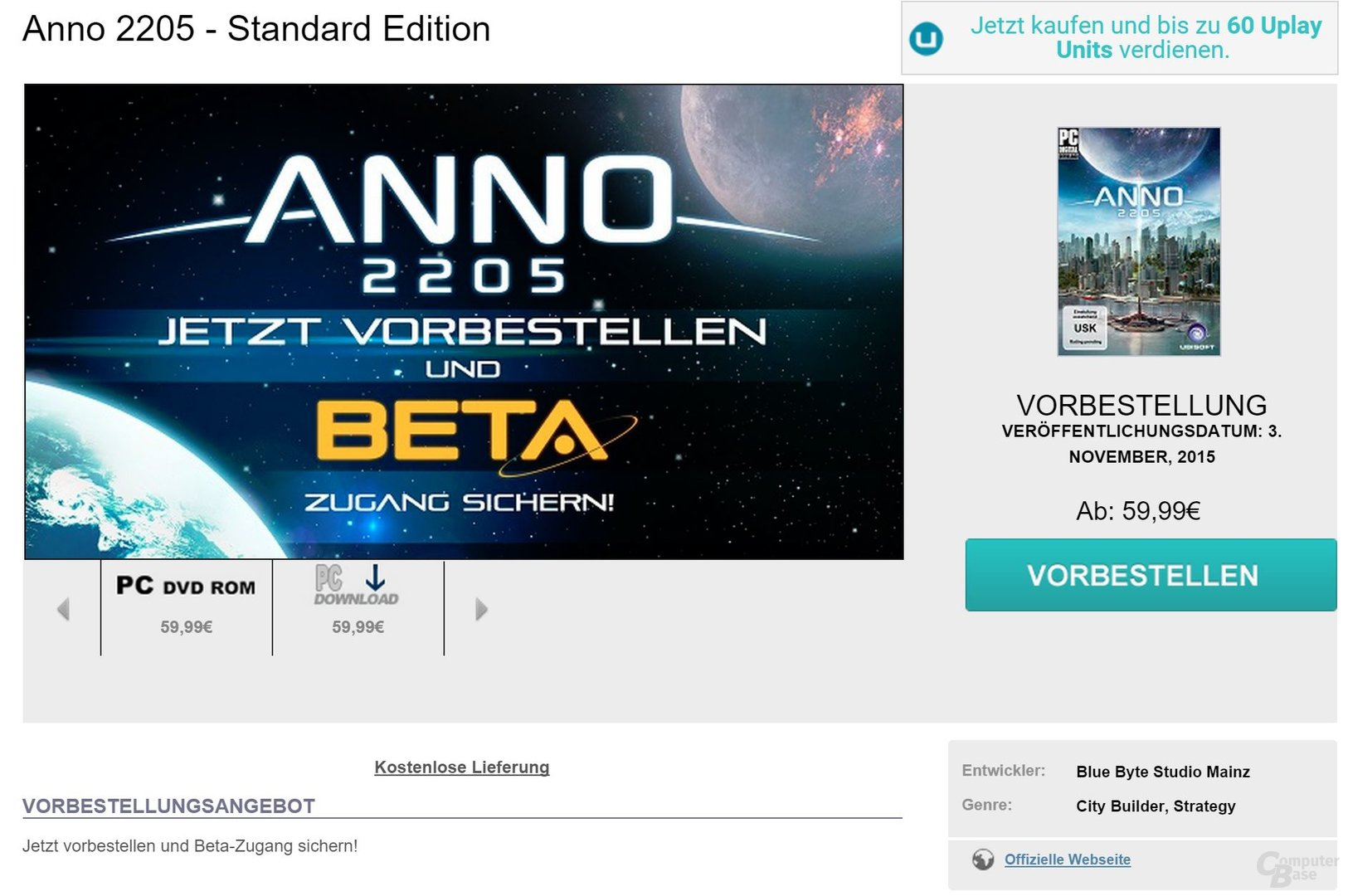 Im Shop wirbt Ubisoft noch immer mit der Beta