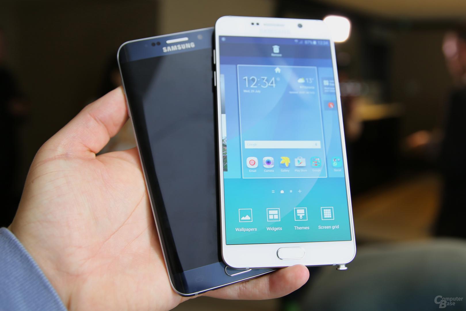 Galaxy S6 edge+ neben Galaxy Note 5