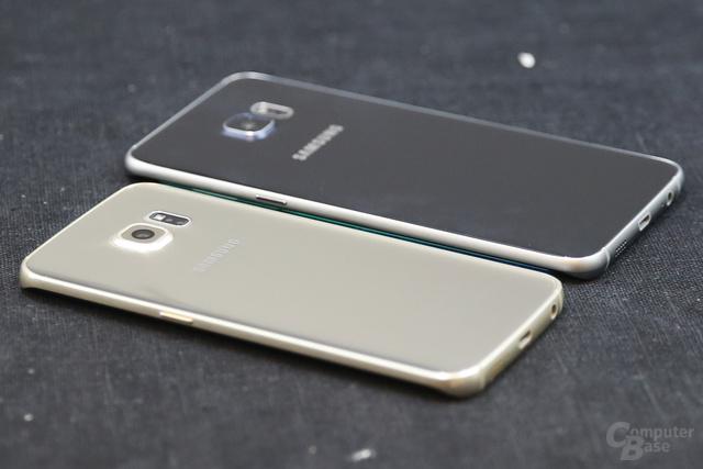 Galaxy S6 edge im Vordergrund, Galaxy S6 edge+ im Hintergrund