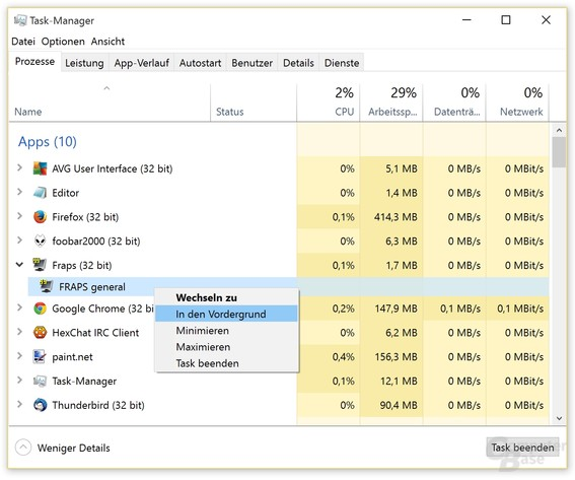 Minimiert gestartete Anwendungen lassen sich über den Task-Manager in den Vollbild-Modus zwingen