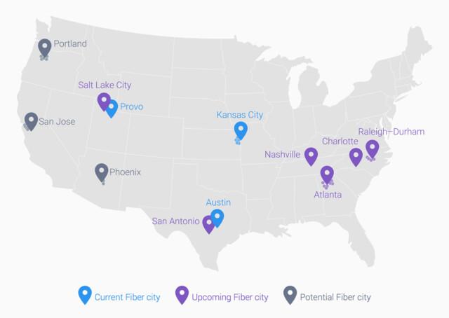 Aktuelle und geplante Städte mit Google Fiber