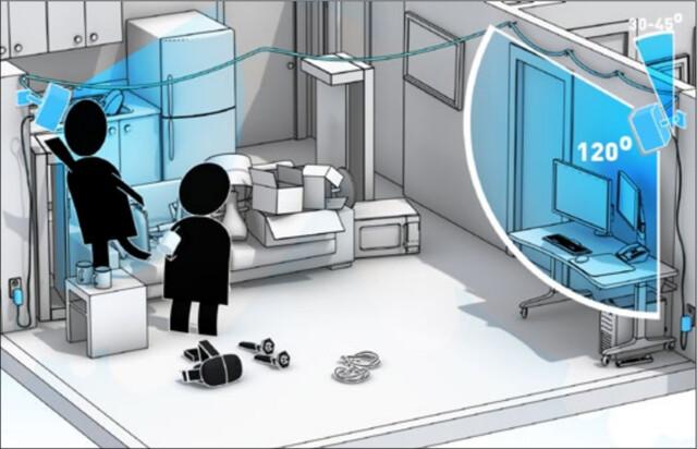 HTC Vive – Basissstationen werden in den Ecken des Raumes angebracht