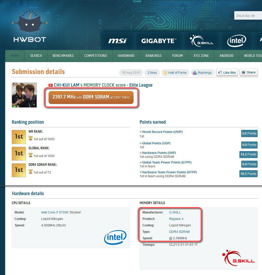 G.Skill Ripjaws 4 mit neuem OC-Rekord für DDR4-RAM