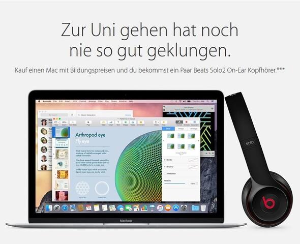 Gratis Beats Solo2 beim Kauf eines neuen Macs