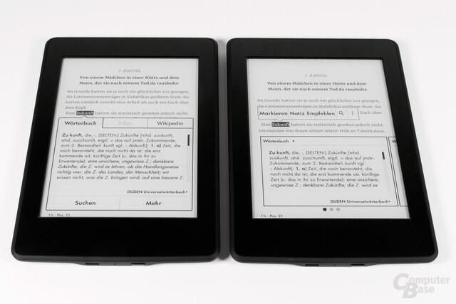 Neues Markierungssystem Für Kindle-Reader (links alte Variante, rechts neue Variante)