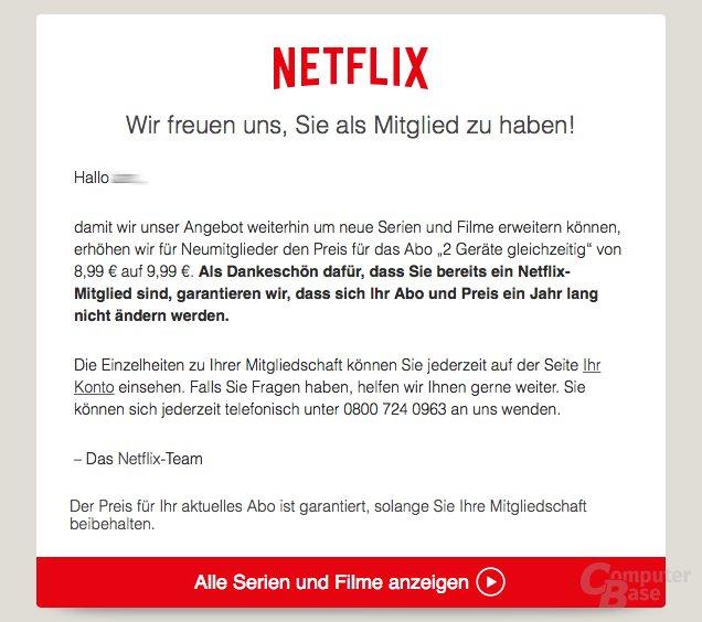 Netflix Kostenerhöhung