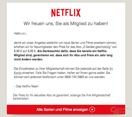 Benachrichtigung von Netflix zur Preisänderung