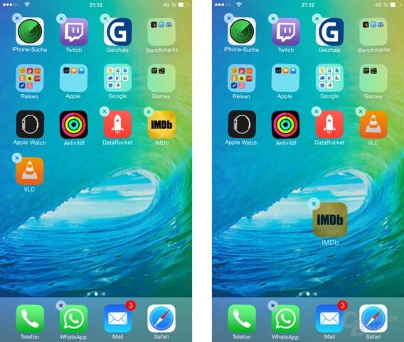 App-Symbole können nur direkt hintereinander am Raster ausgerichtet werden