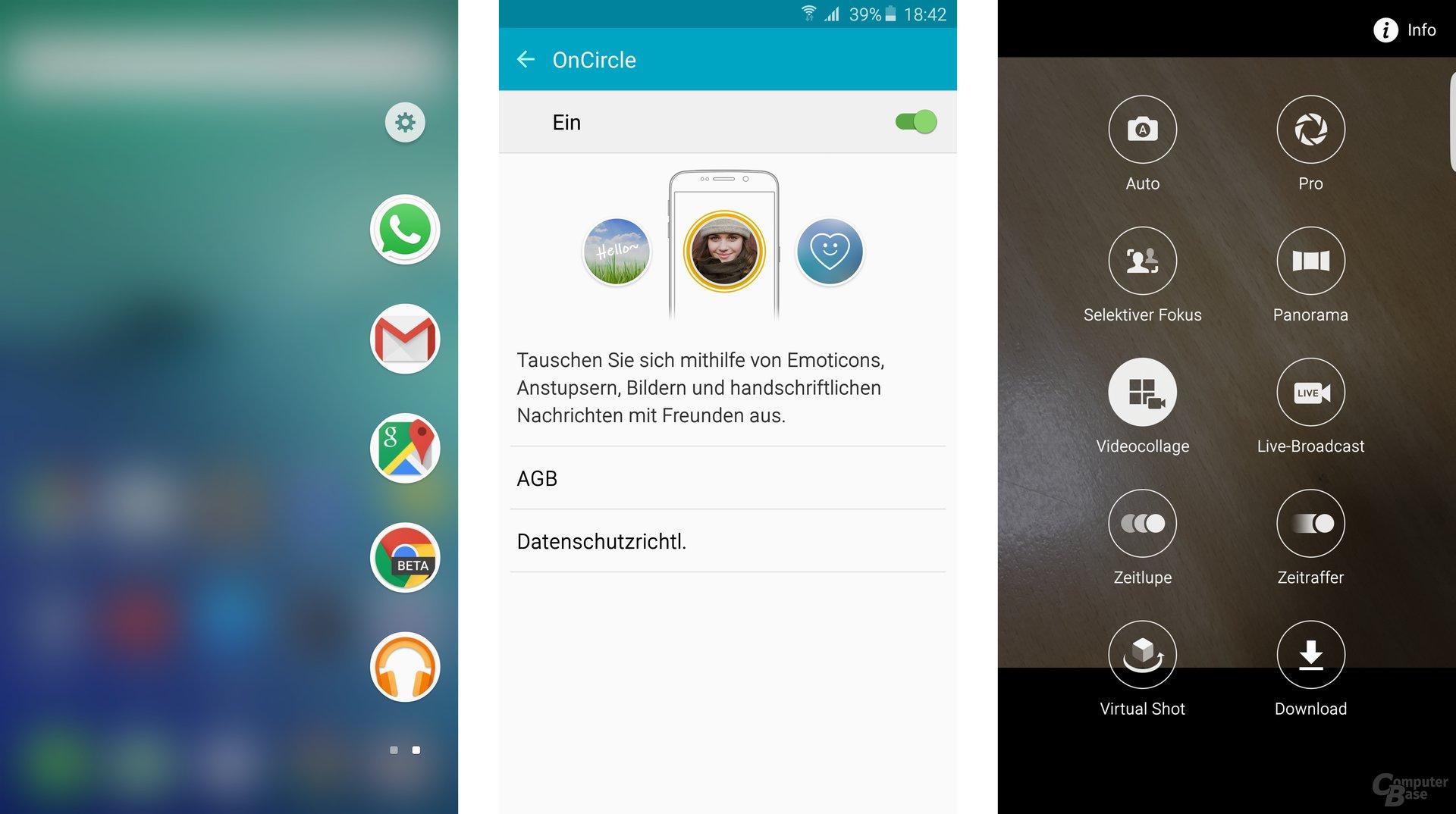 Galaxy S6 edge+: Edge mit Apps, OnCircle-Funktionen, neue Modi für Kamera