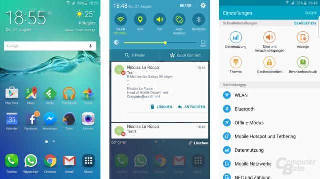 Galaxy S6 edge+: Homescreen, Benachrichtigungen, Einstellungen