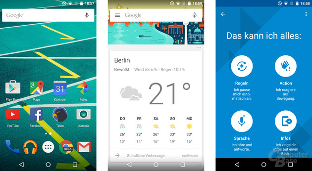 Moto X Play: Homescreen, Google Now Launcher, Moto-App