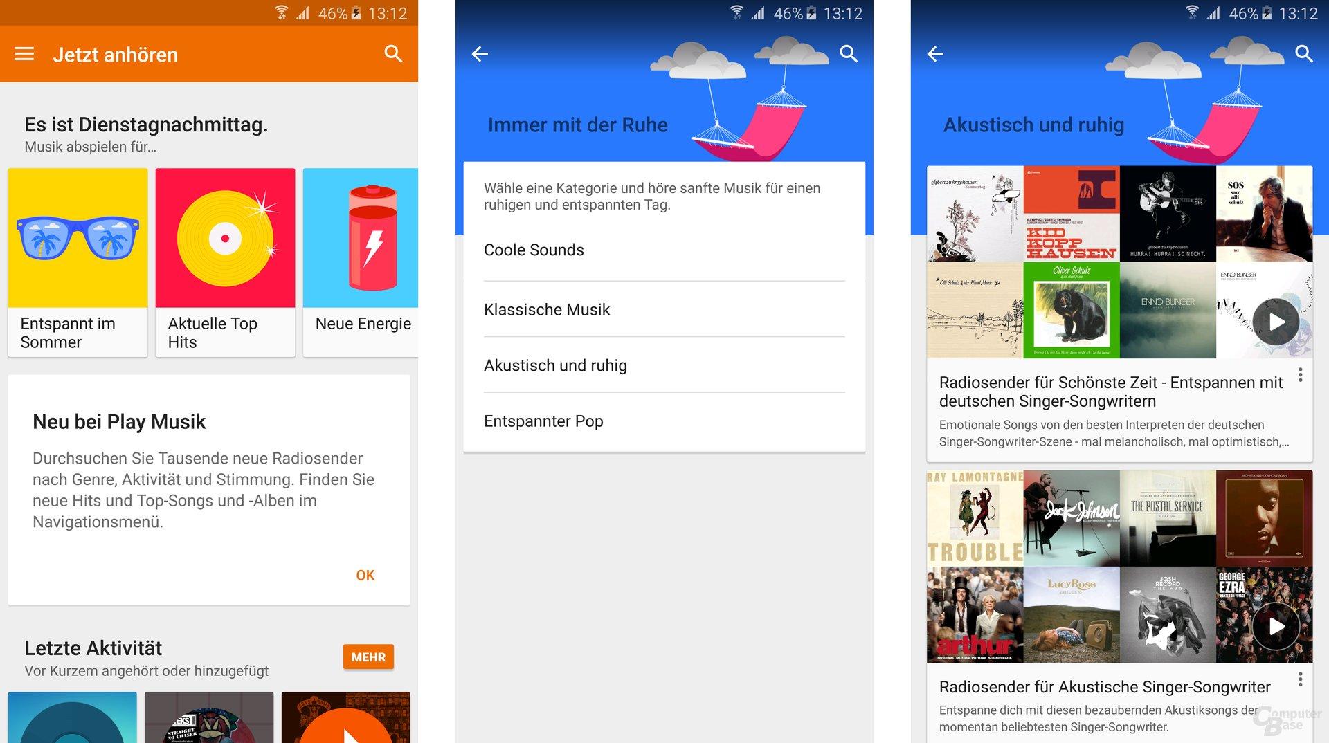 """Google Play Musik für Android: Neue Auswahl im Menü """"Jetzt anhören"""""""