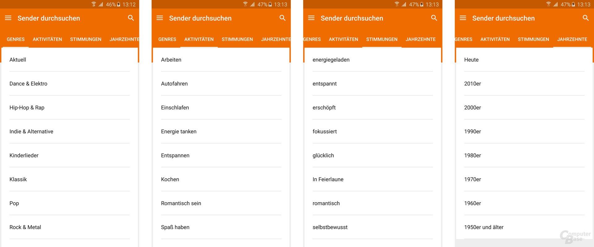 Google Play Musik für Android: Auswahl von Sendern (Playlisten)
