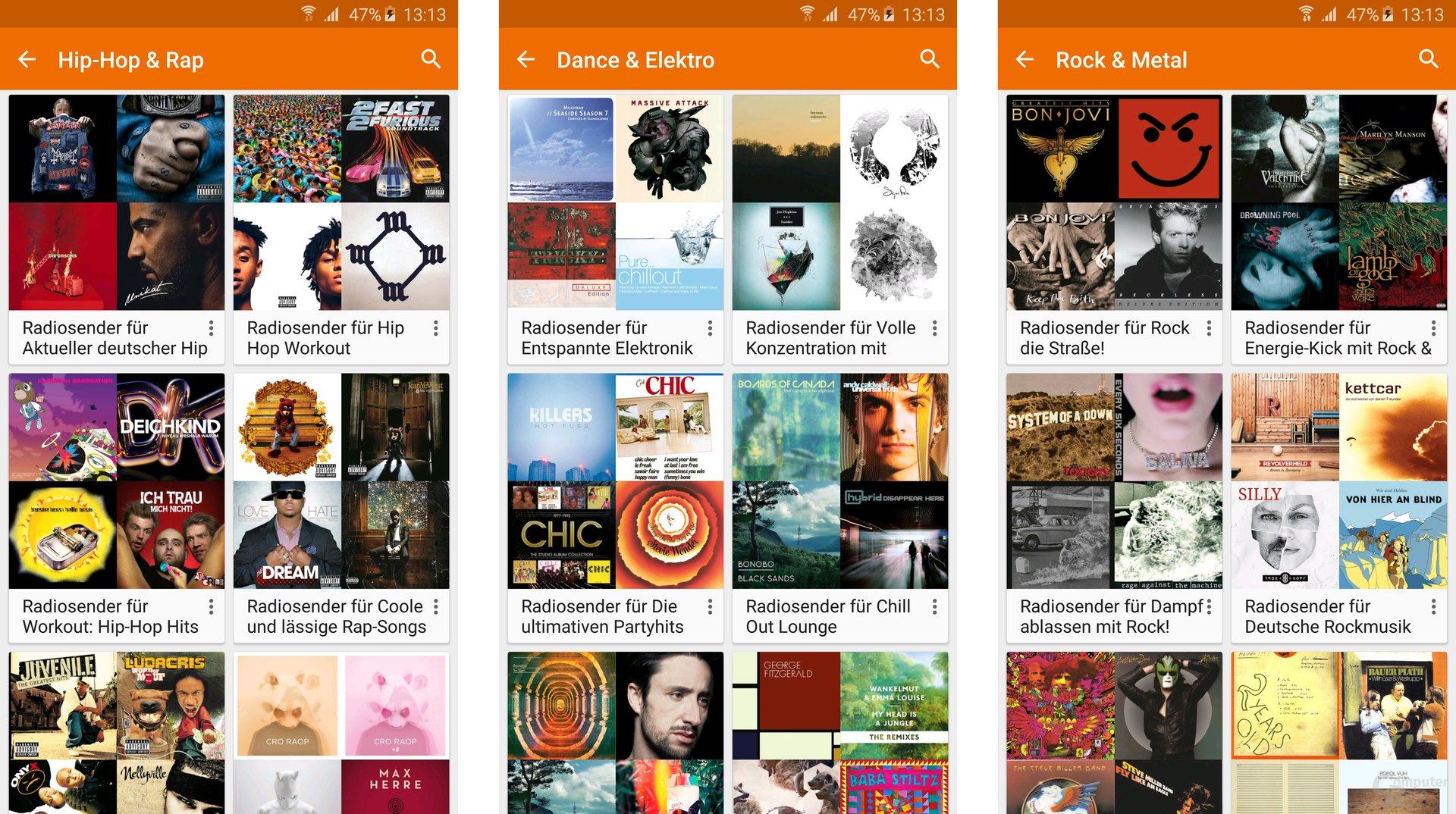 Google Play Musik für Android: Auswahl nach Genres