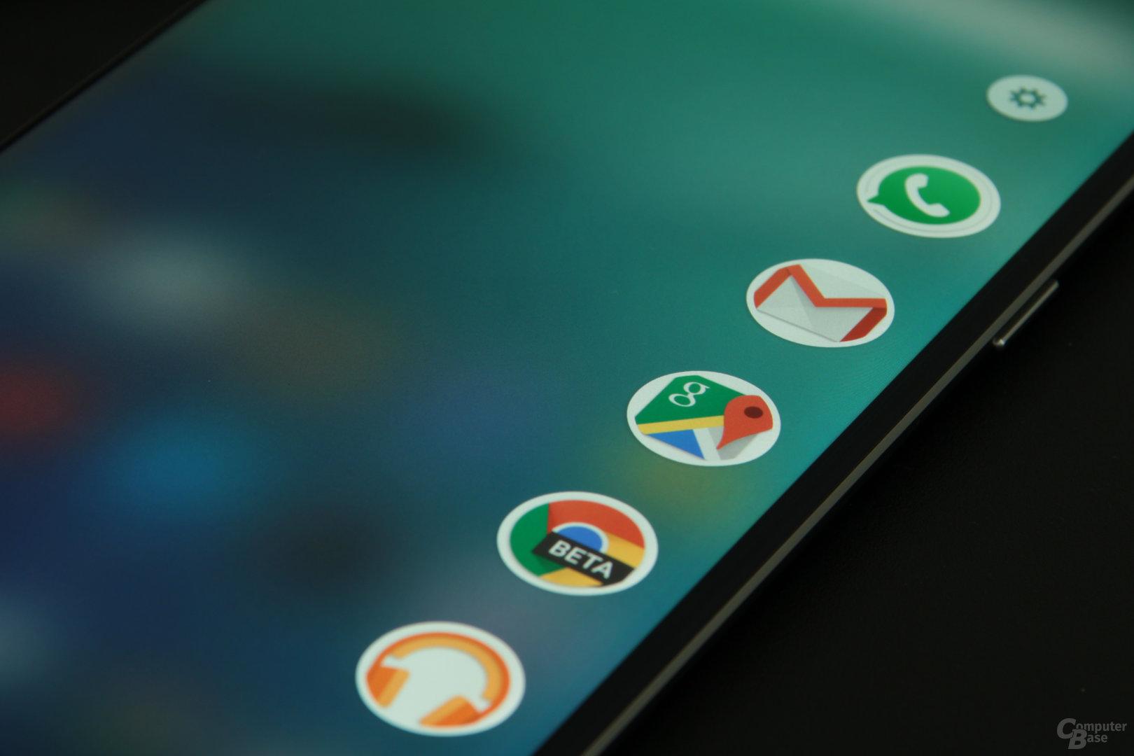 Auf dem Edge-Display lassen sich jetzt auch Apps ablegen