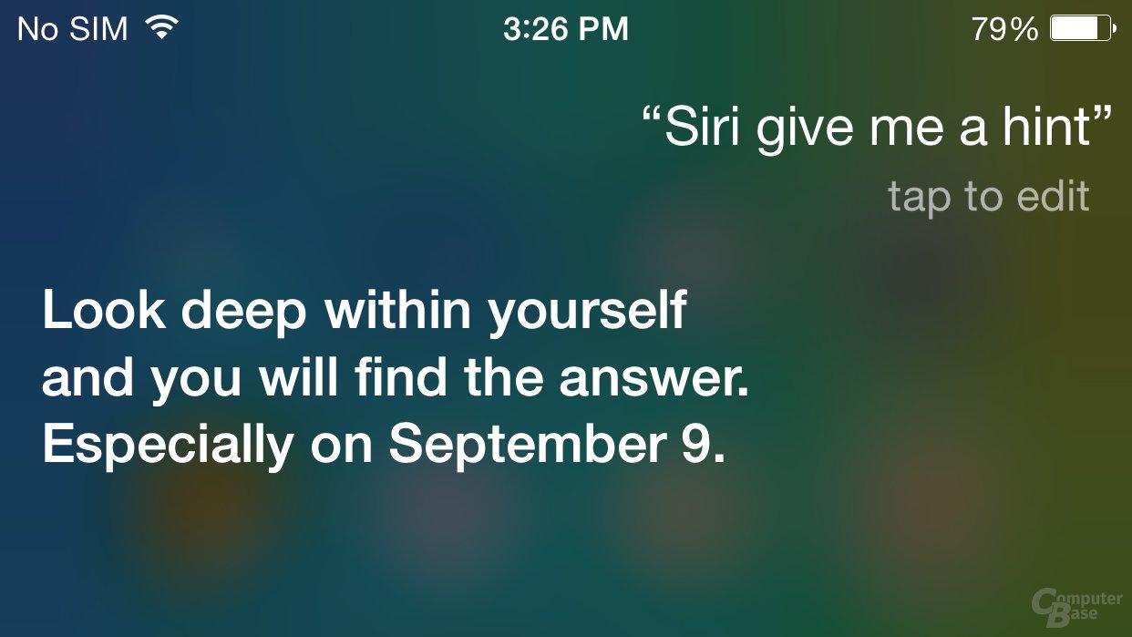 Siris Antwort auf Frage nach Hinweis