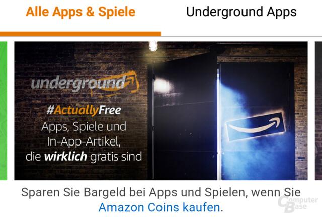 Amazon Underground bietet Android-Apps, deren Entwickler pro Minute bezahlt werden
