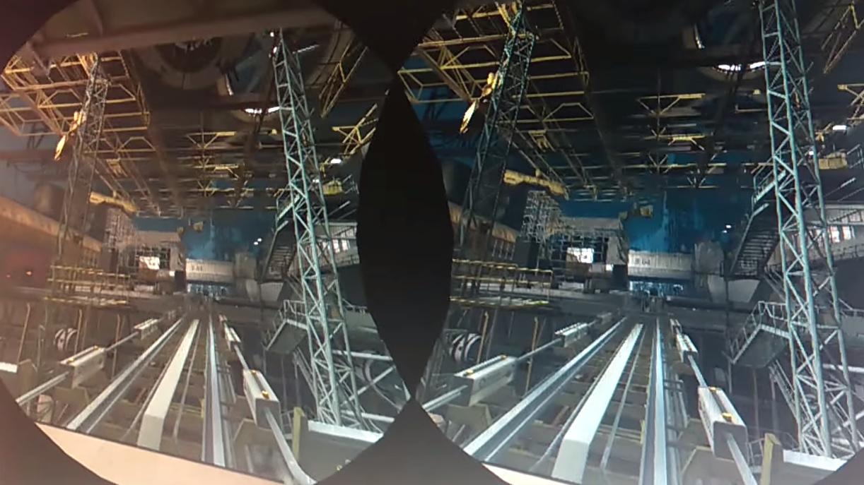 Die Werkstatt steht auf Schienen und wird demontiert