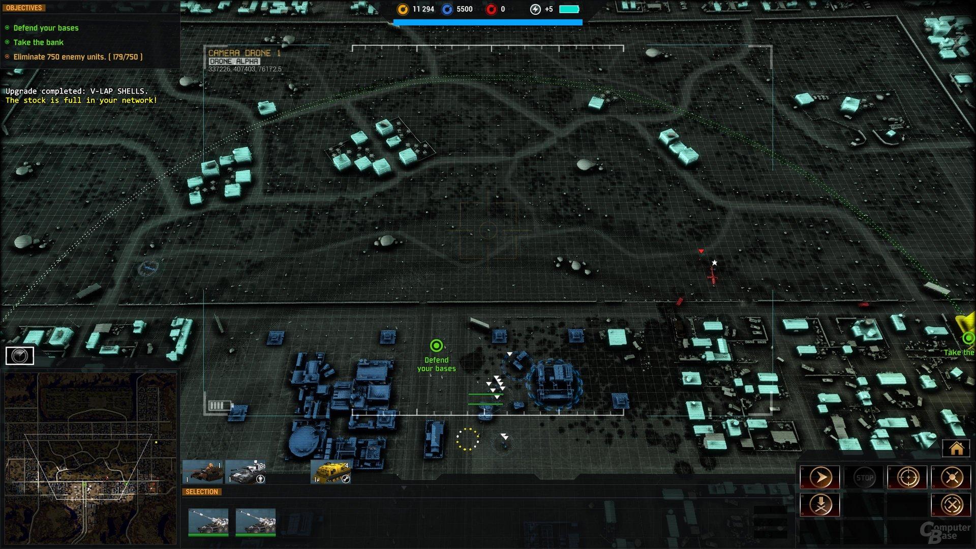 Taktik-Perspektive: Die beachtliche Reichweite der Artillerie wird mit Punkten markiert