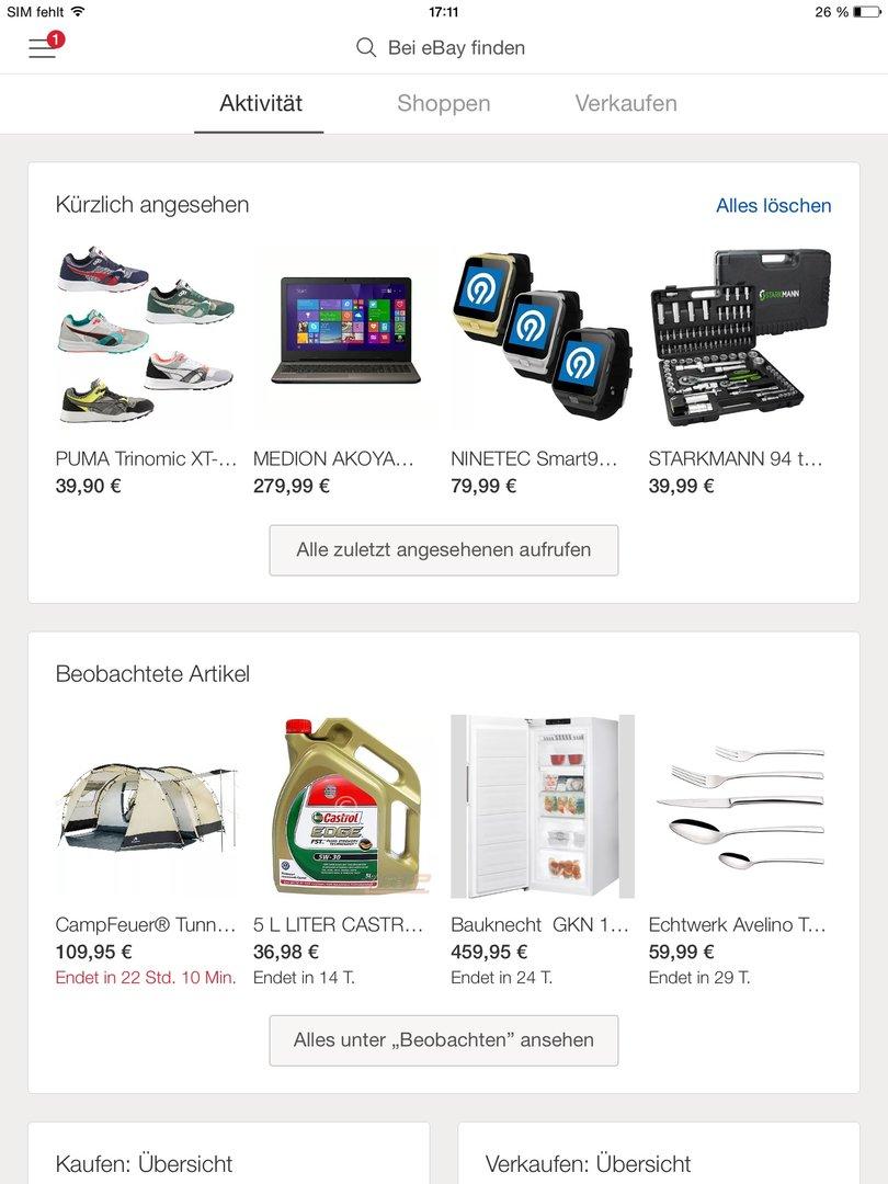 "eBay 4.0 – Menüpunkt ""Aktivität"""