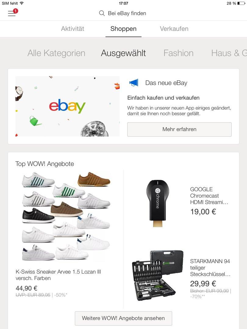 "eBay 4.0 – Menüpunkt ""Shoppen"""