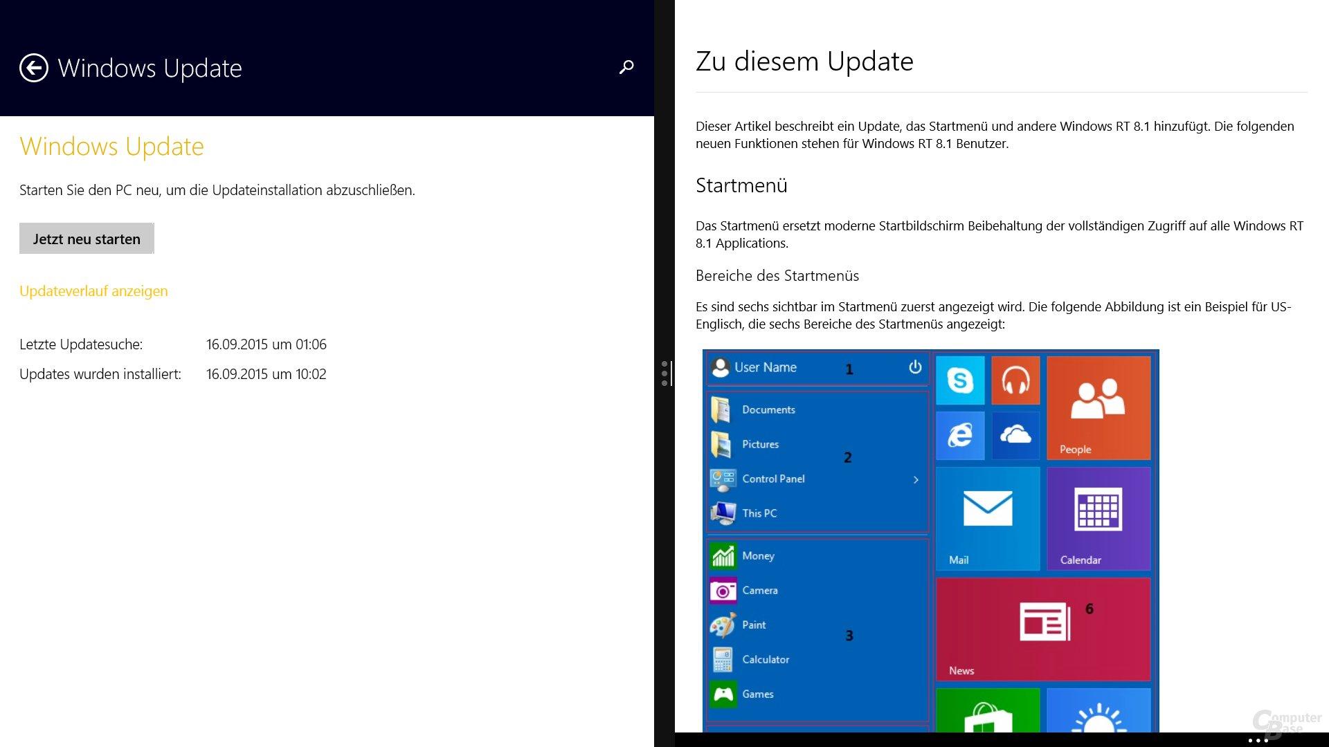 Das Update KB3033055 ist nur optional