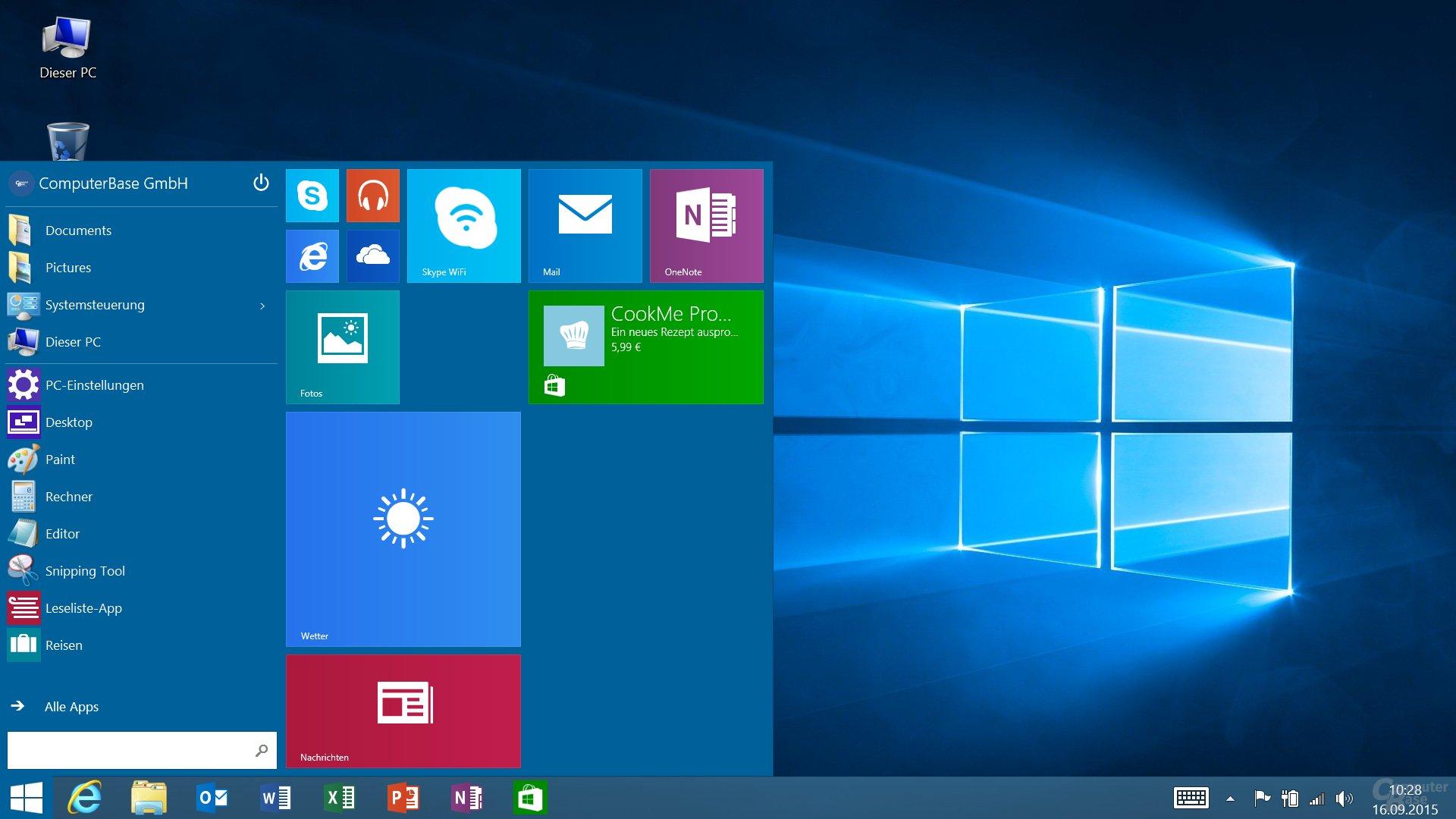 Der rechte Bereich kann wie unter Windows 10 auch größer ausfallen
