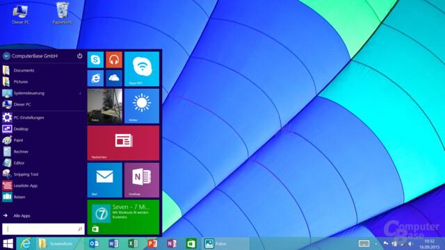 Das Startmenü kommt dem von Windows 10 sehr nahe