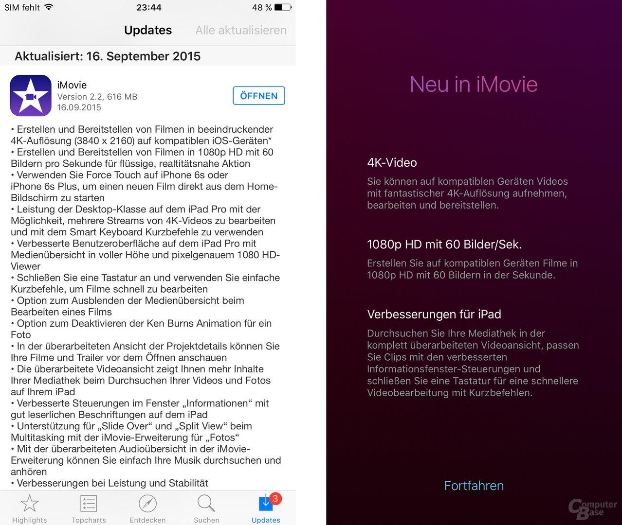 Veränderungen in iMovie 2.2