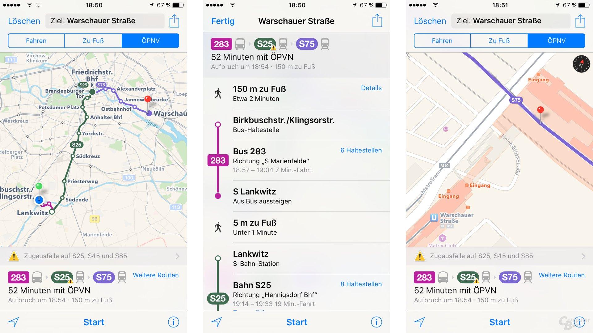 iOS 9: Apple Maps mit ÖPNV und vielen Details