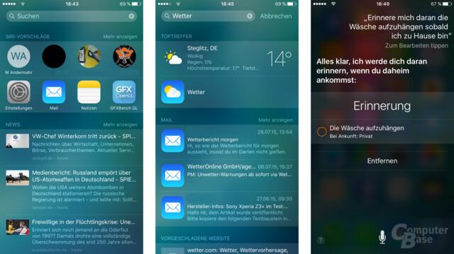 iOS 9: Spotlight-Seite, Suche, Siri mit mehr Funktionen