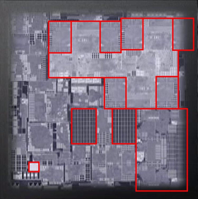 Apple A9 mit Aufteilung in CPU, GPU, M9 und SRAM Cache