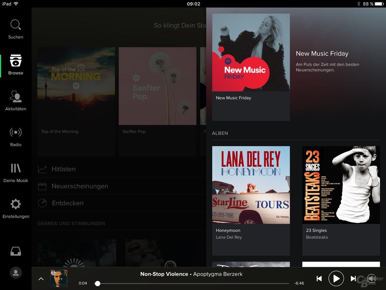 Spotify auf dem iPad