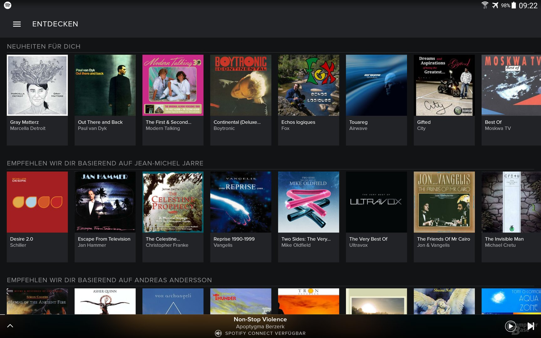 Spotify auf dem Android-Tablet
