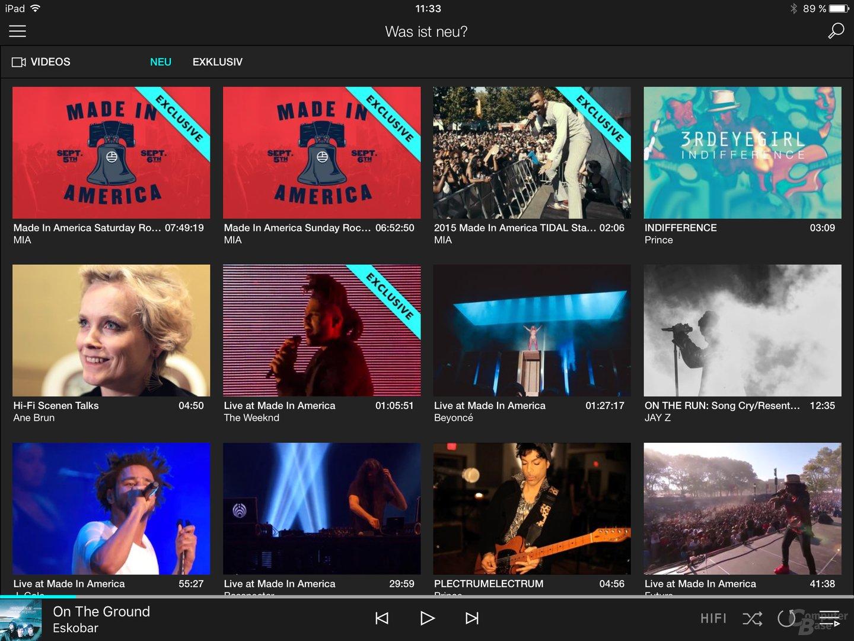 Tidal auf dem iPad