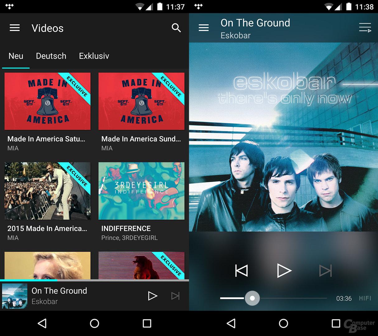 Tidal auf dem Android-Smartphone