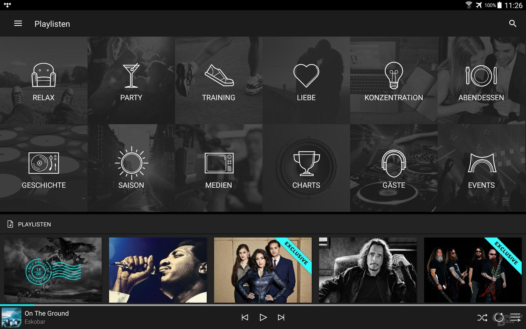 Tidal auf dem Android-Tablet