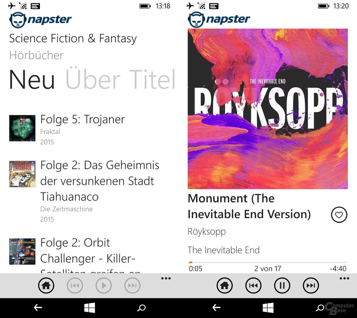 Napster auf dem Windows-Phone