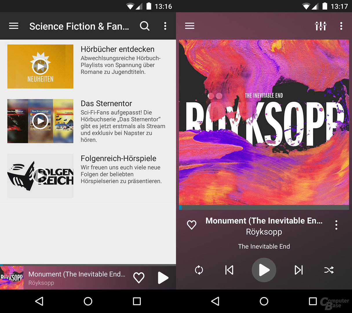 Napster auf dem Android-Smartphone