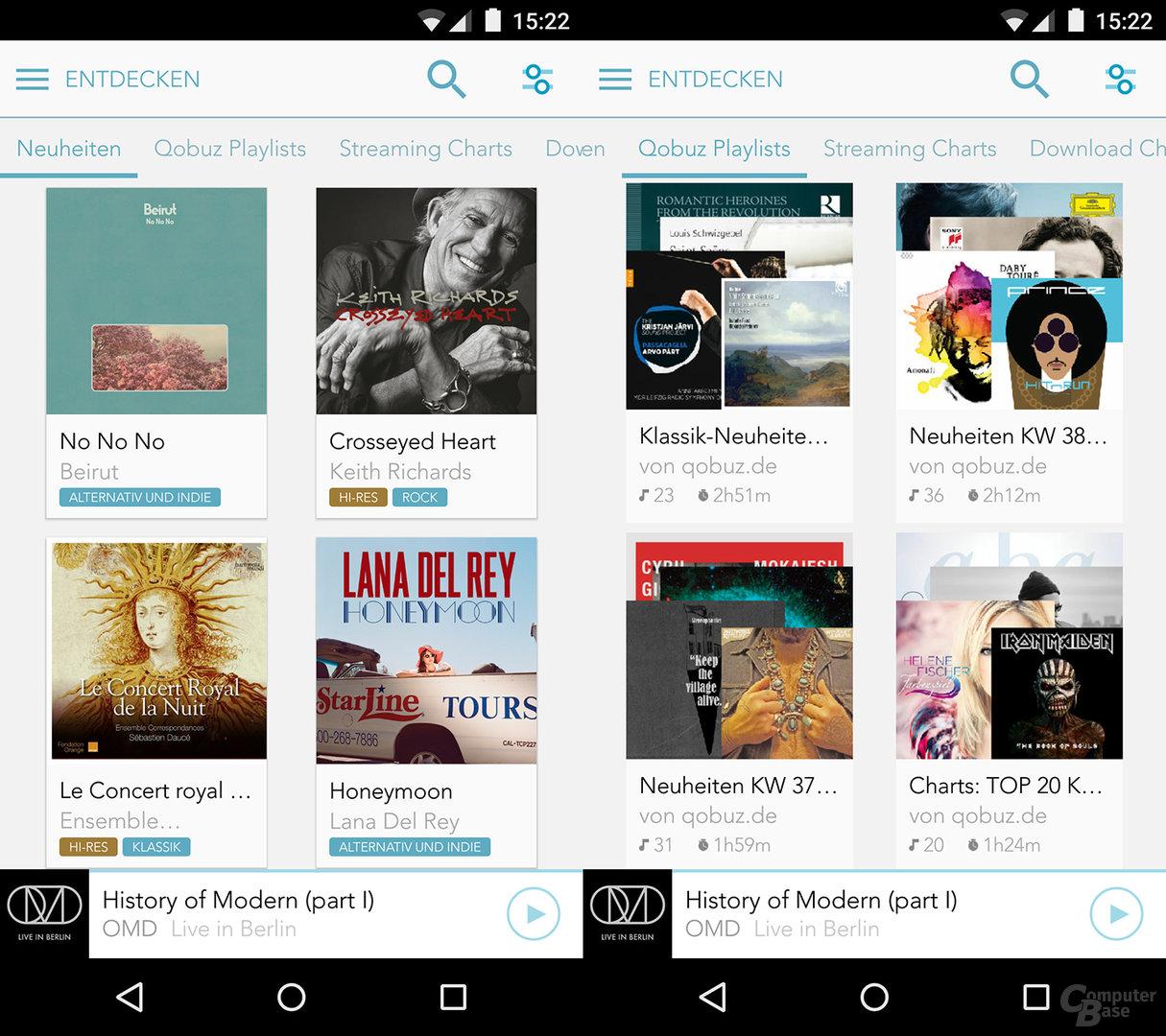 Qobuz auf dem Android-Smartphone